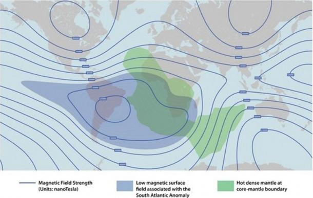 Image depicting the lower magnetic surface field above corresponding with the hot dense mantle below in the South Atlantic Anomaly.
