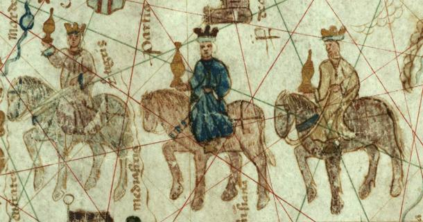 The magi or three kings who followed the Star of Bethlehem to find the new born Jesus. Source: Mapa original: Juan de la Cosa / Public domain
