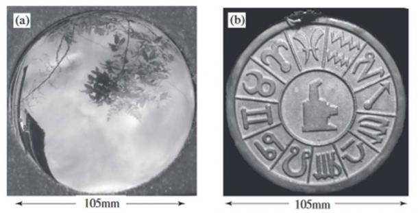 (a) Convex reflecting face of magic mirror. (b) Pattern embossed on back face of magic mirror.