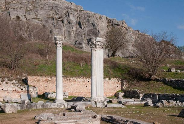 Could these be the two magical columns in the Philippi story about the wizard battle? They are just one example of many such columns found in this ancient city. (MrPanyGoff / CC BY-SA 3.0)
