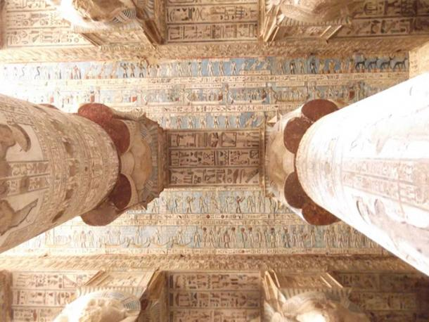 The magnificent ceiling inside the Temple of Hathor
