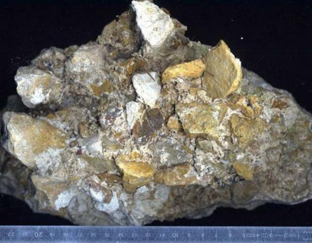 A magnified piece of Roman concrete consisting of lime, volcanic sand, and rock