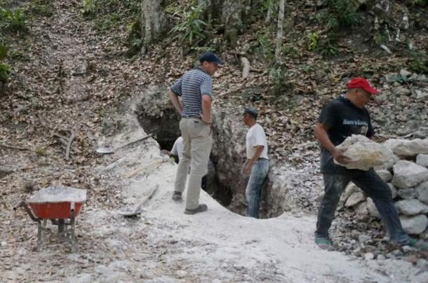 The team reopens a tunnel into one of the main pyramids at the El Zotz site in Guatemala.