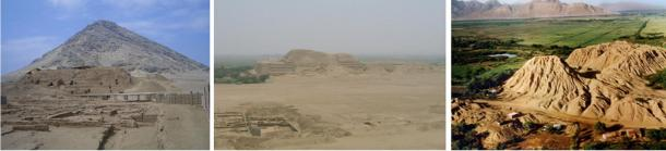 Most of the Moche ceramics have been recovered from the major archaeological sites of Huaca de la Luna, Huaca del Sol, and Sipán, shown respectively from left to right.