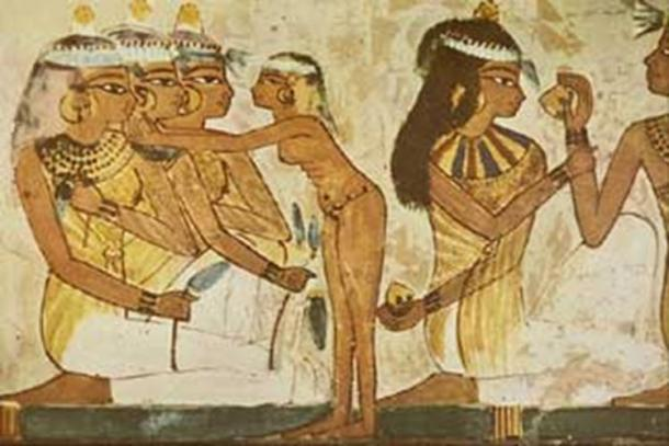 Paints and makeup were a mixture of minerals from iron ores (red and yellow), copper ores (blue and green), soot or charcoal (black), and limestone (white).