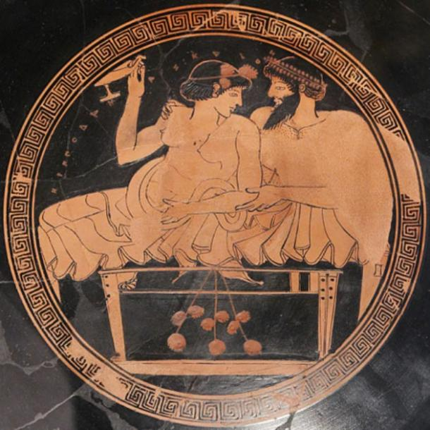 A man and a prostitute reclining on a bench during a banquet; Tondo from an Attic red-figure kylix, circa 490 BC. (Marie-Lan Nguyen/CC BY SA 2.5)