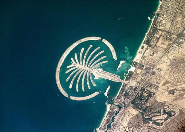 """The entirely man-made island resort, """"Palm Island"""" in Dubai, UAE 2005."""