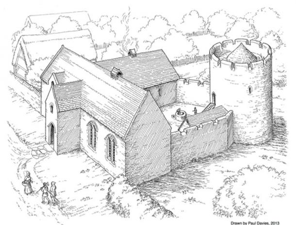How the manor house at Trellech might have looked, judging by the discovered remains