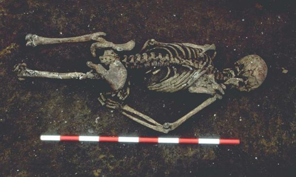 The man's corpse had been interred face down, possibly to prevent him from rising up from death to haunt the living.