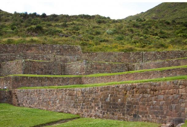 The many-leveled terraces of the Tipón Incan agricultural site.