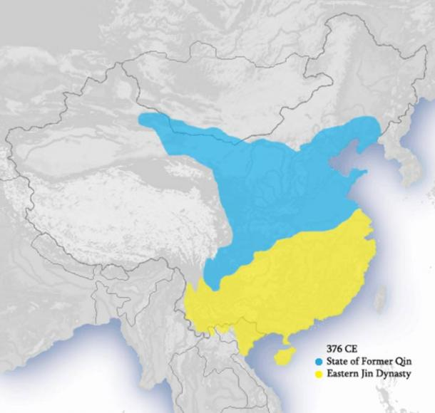 Map showing the location and extent of the Former Qin Dynasty, circa 376 A.D
