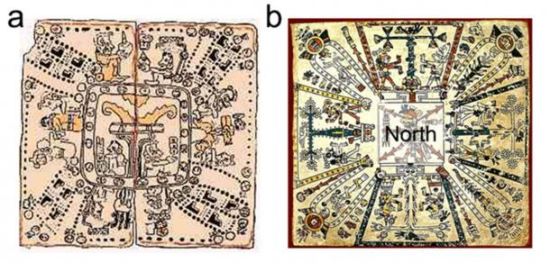 Figure 1. Worldview maps showing the eight-partitioning of the global grid. (a) Mayan cosmogram from the Codex Madrid. In the center is the Tree of Life, the polar axis, which is surrounded by eight deities and various calendrical signs defining their spiritual qualities. (b) Aztec cosmogram from Codex Fejérváry-Mayer with a central deity in the north from which Trees of Life are projected in eight different directions.