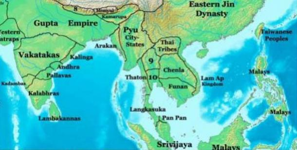 A map of Southeast Asia in 400 AD, showing the Kingdom of Funan