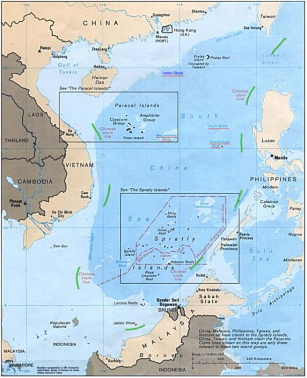 A Filipino judge examined maps going back hundreds of years and said the southernmost China limit  historically was the island of Hainan, which is at the top of this map (above) far to the northwest.