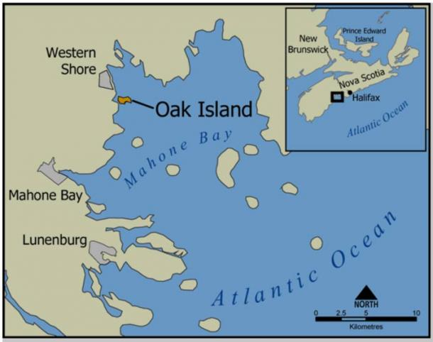 Map showing location of Oak Island, Nova Scotia