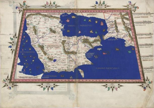 Early map of Arabian Peninsula dated 1467 based on Ptolemy's Cosmographia of 150 AD, showing two rivers flowing out of the Rub al Khali desert, north and south.