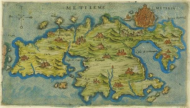 A (1597) map of Lesbos (Mytilene), the location of Barbarossa's birth.
