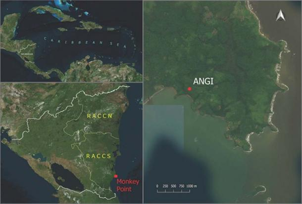 Left Top - A map of Nicaragua, where the ancient woman's remains were found; Left Bottom - Monkey Point, the site of the archaeological dig; Right - a zoomed-in image of Monkey Point, showing the exact spot of the Angi site. (Roksandic M / Antiquity)