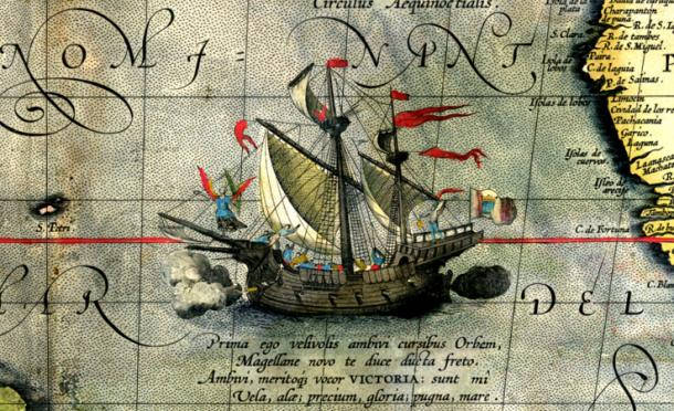 Detail from a map of Ortelius: Magellan's ship Victoria