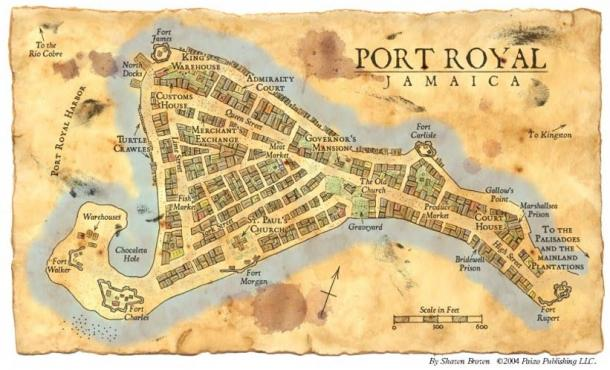 A map of Port Royal, Jamaica.