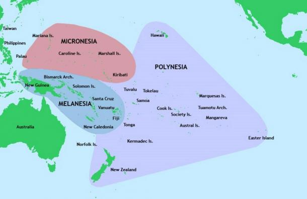 As shown in this map, Vanuatu is typically seen as part of Melanesia. However, new research suggests that the first people in Vanuatu were Polynesian