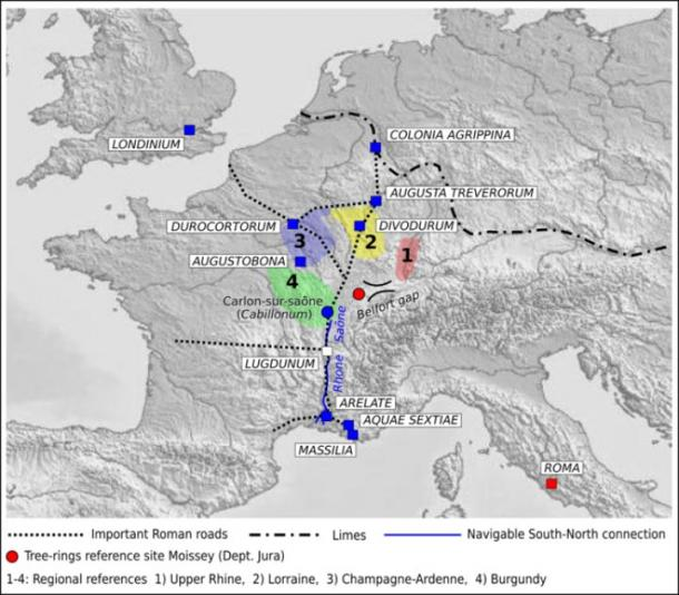 Map of Roman provinces in today's France and Germany, with Roman's probable logistics network used for building Rome (M Bernabei , J Bontadi, R Rea, U Büntgen & W Tegel / PLOS ONE)