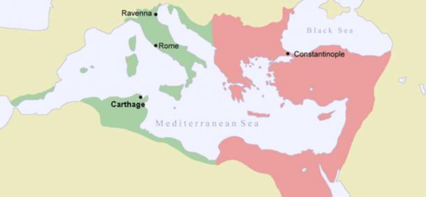A map of the Byzantine Empire in 550 (a decade after the Plague of Justinian) with Justinian's conquests shown in green.