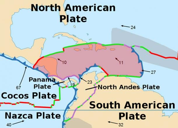 A map of the Caribbean Plate