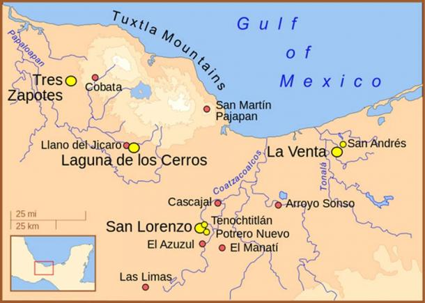A map of the Olmec heartland. The yellow sites are known Olmec villages and towns. The smaller red dots mark locations where artifacts or art have been found unassociated with habitation.