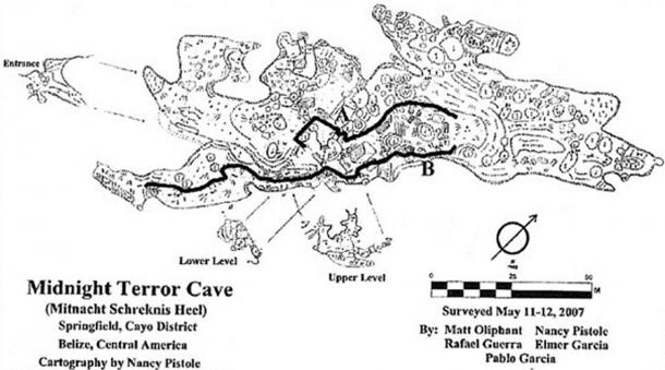Map of the Midnight Terror Cave with pathways indicated by bold lines.