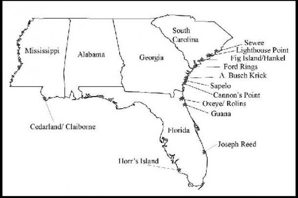 A map of the southeastern United States indicating locations of shell rings along the coast. (Via author Jim Willis)