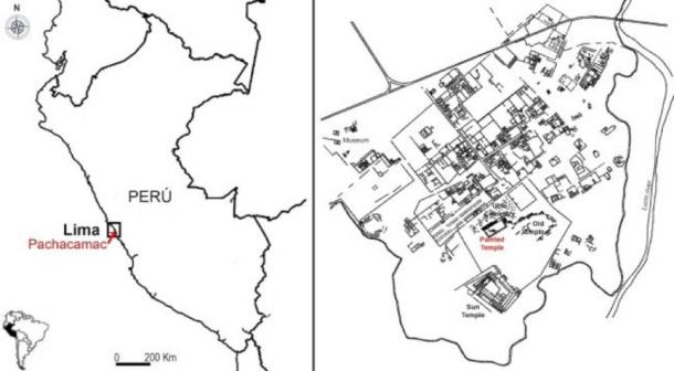 This map shows the Pachacamac archaeological site and the location of the painted temple, where the idol was discovered in 1938. (Sepúlveda M, Pozzi-Escot D, Angeles Falcón R, Bermeo N, Lebon M, Moulhérat C, et al. (2020)/ PlosOne)