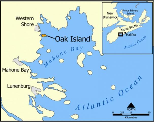 A map showing Oak Island, Nova Scotia, Canada.