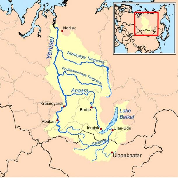A Wikipedia map showing the Yenisei Bay and river basin in the Siberian Arctic