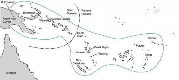 Map showing the areas in which the Lapita people colonized. They moved from Near Oceania (left) to Remote Oceania (right). Teouma in Efate Island, where the burial site was found, can be seen within Remote Oceana. (Monica Tromp / Nature Human Behaviour)