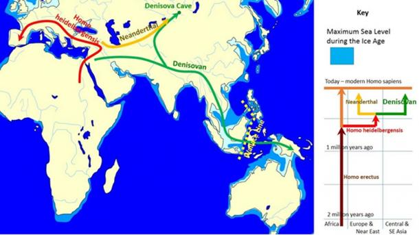 The map shows spread and evolution of Denisovans.