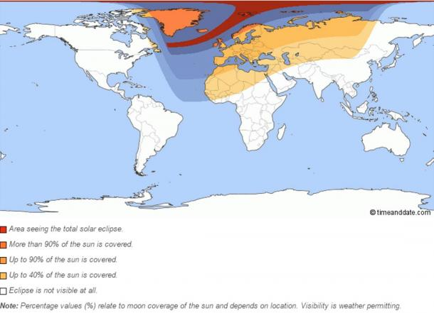 Map showing the regions where the eclipse is visible
