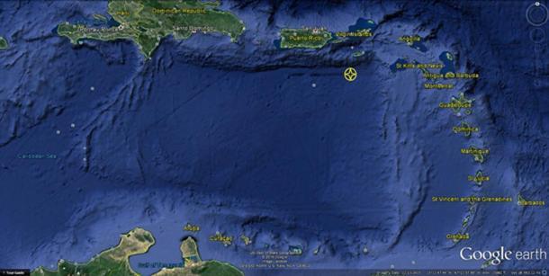 Caribbean Basin with 'city' location marked.