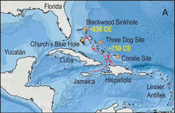 Map showing the key locations used for understanding the Lucayan migration patterns throughout the Bahamas. (Fall, P. et. al. / PNAS)