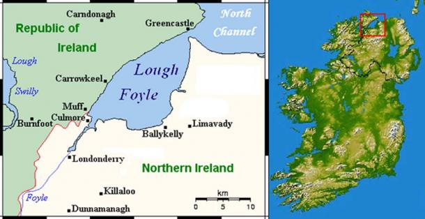 Map showing the location of Lough Foyle.