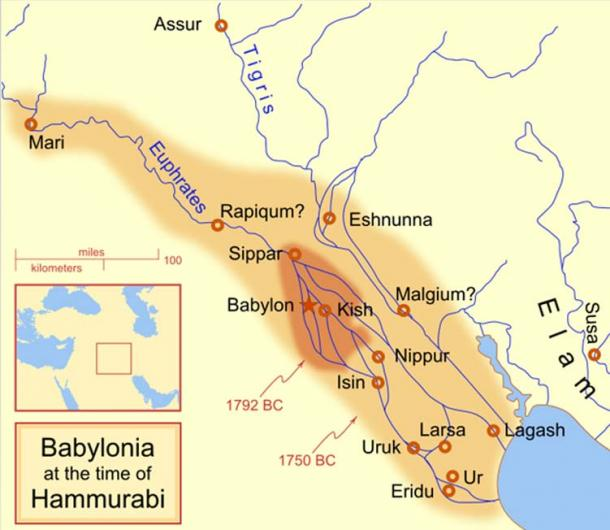 Map showing Lagash located near the shoreline of the gulf.