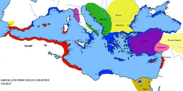 Greek (Blue) and Phoenician (Red) Colonies around 6th century BC.