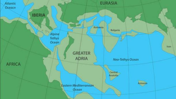 The ancient continent Greater Adria as it existed 140 million years ago, before sliding beneath what is now southern Europe. The darker green areas depict the land above the water and the lighter green, the land below. Source: Douwe van Hinsbergen.