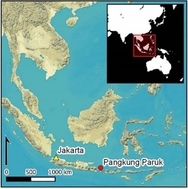 Map showing the proximity of the Pangkung Paruk excavation site in Indonesia, where the Bali gold was found. (Antiquity Publications Ltd)