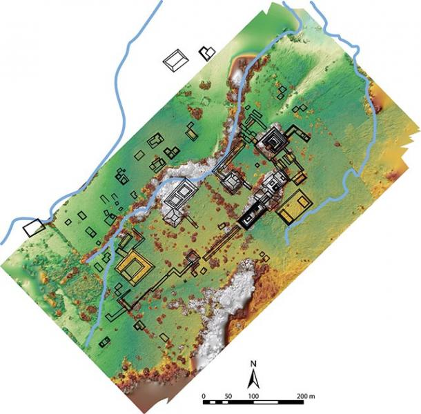 A map of the excavation site. The horseshoe-shaped structure to the left is the palace area. On the far right, center, is the Monuments Plaza. (Image Courtesy of Charles Golden/ Journal of Field Archaeology)