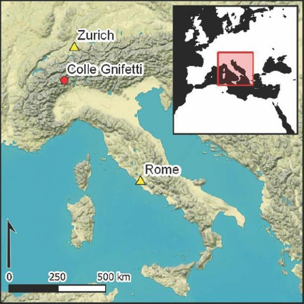 Map the Colle Gnifetti site of the alpine glacier in proximity to Italy and Switzerland. (Christopher Loveluck / Antiquity Publications Ltd)