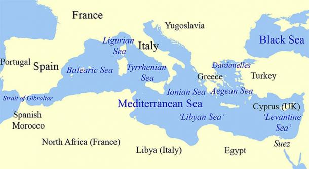 Map of the Mediterranean Sea and subdivisions with Levantine Basin right (East). (Grandiose / CC BY SA 3.0)