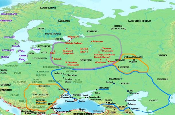 Map showing the distribution of early Varangian settlement, mid-ninth century AD. Varangian settlements shown in red, other Scandinavian settlement in purple. Grey names indicate locations of Slavic tribes. Blue outlines indicate the extent of Khazar influence. (CC BY-SA 3.0)
