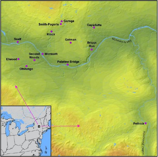 A map showing the Mohawk Valley region in northeast North America and all the Iroquoian sites analyzed in this study. (Manning, Hart / CC BY-SA 4.0)