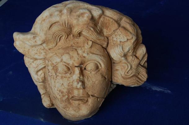 The marble head of Medusa discovered at Antiochia ad Cragum in Turkey.